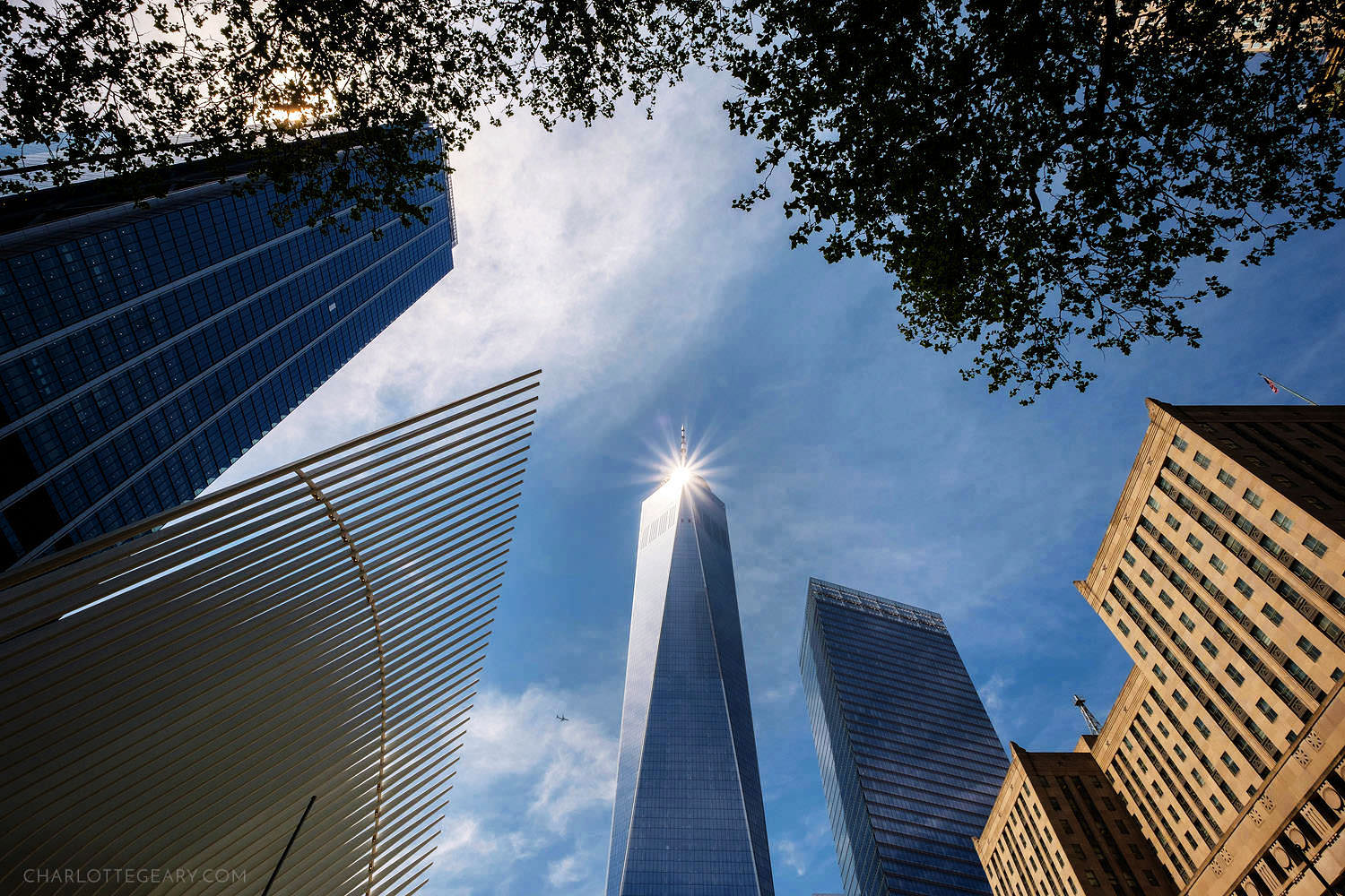 Sun reflecting off One World Trade Center in New York
