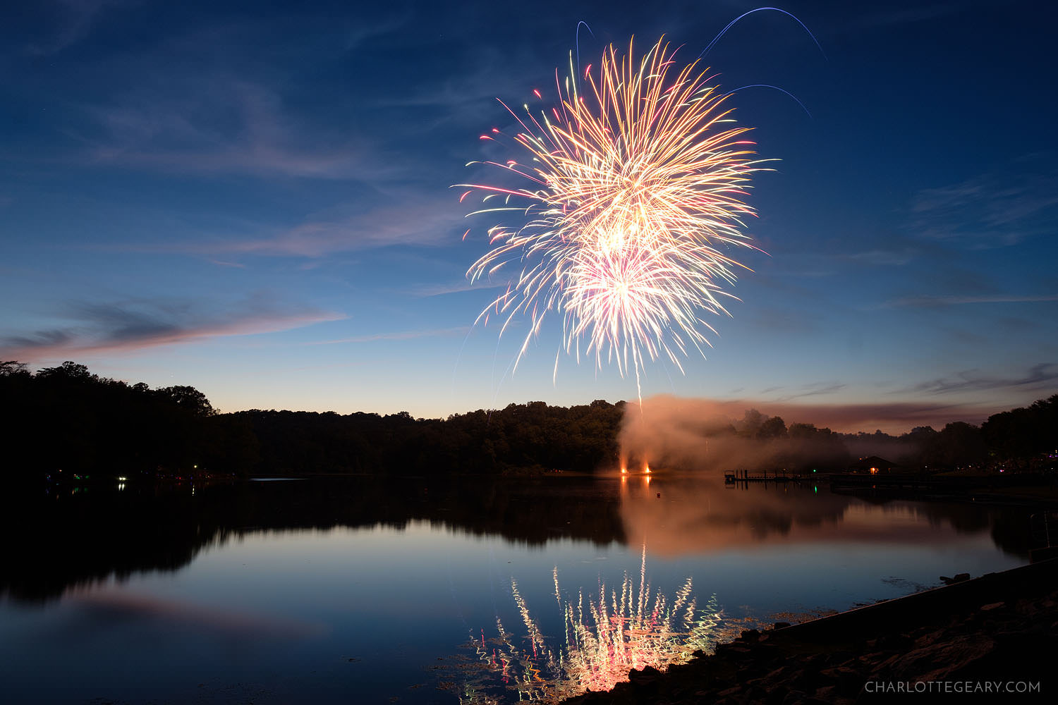 Fourth of July fireworks at Lake Fairfax