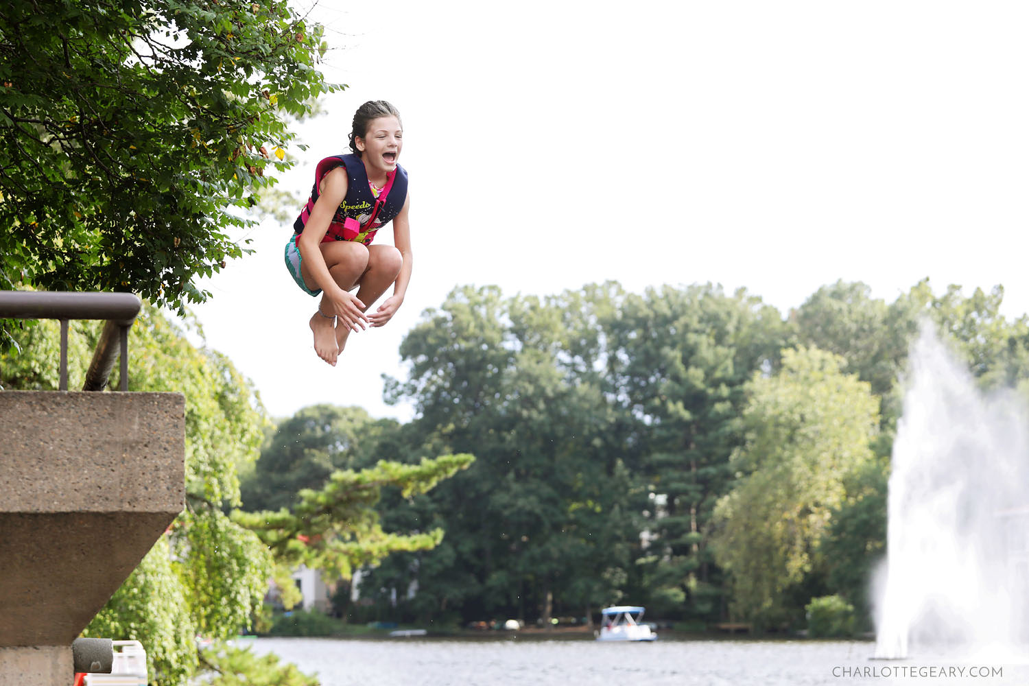 Girl jumps into Lake Anne (Reston, Virginia)