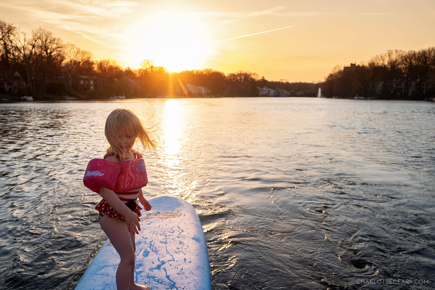 Surfer girl on Lake Anne in Reston