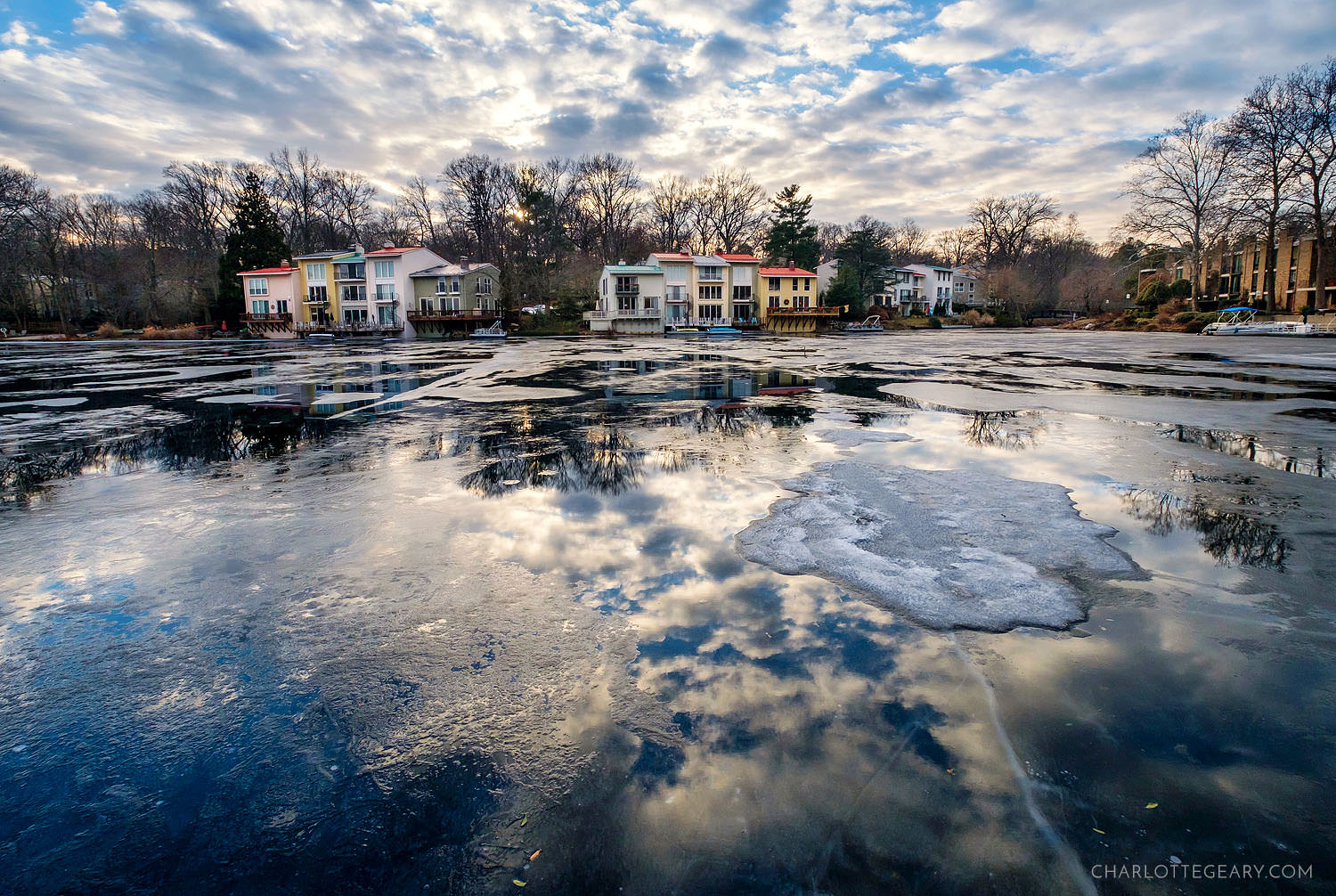 Melting ice on Lake Anne in Reston, Virginia