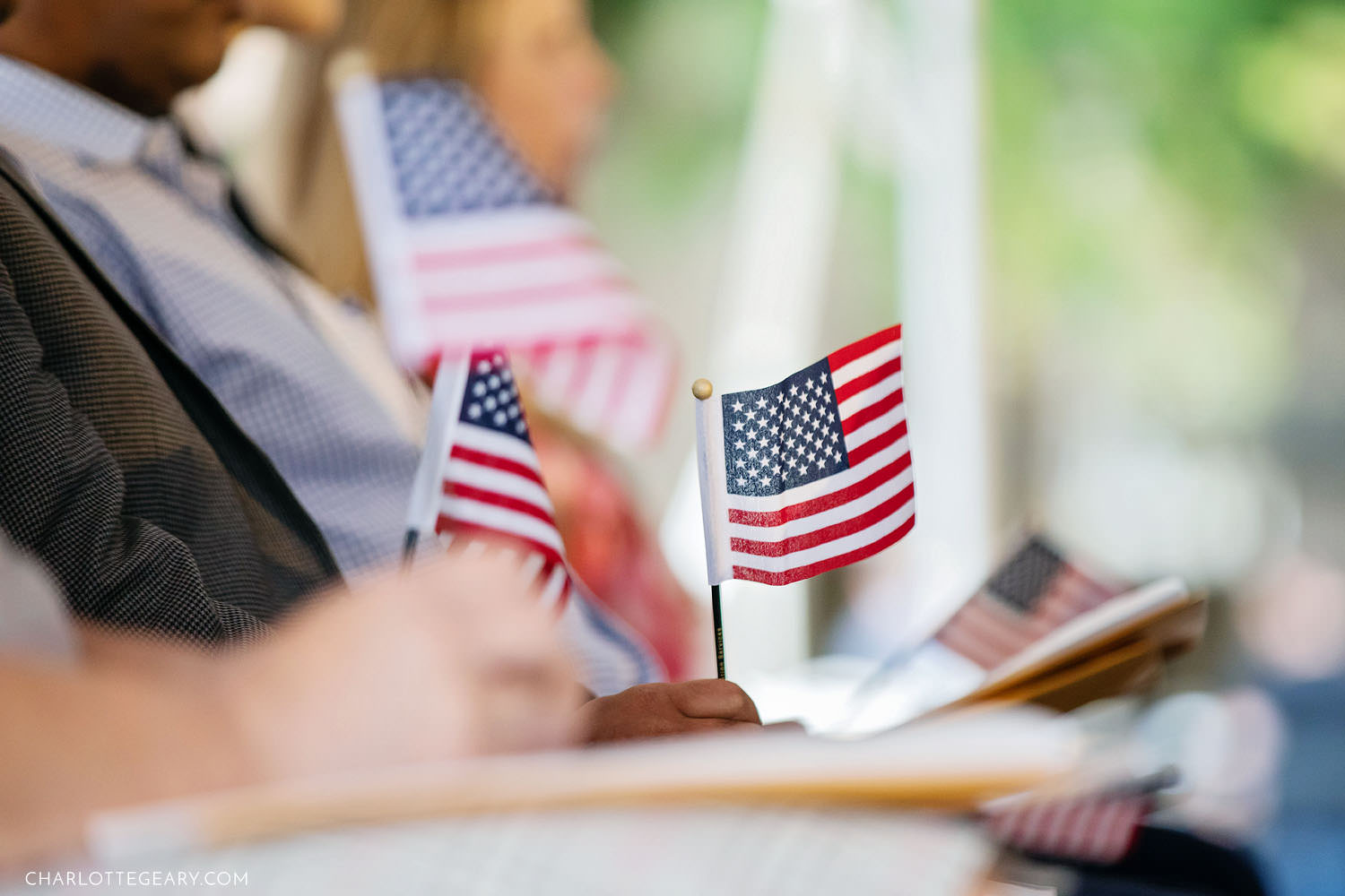 American flags at a US naturalization ceremony